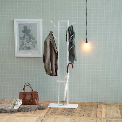 Vinci Garderobenständer mit Schirmständer - weiß