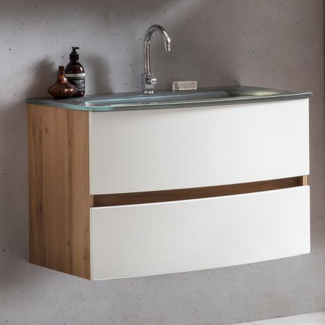 Waschtischunterschrank Kornel 80cm grau Waschbecken - Eiche/mattweiß