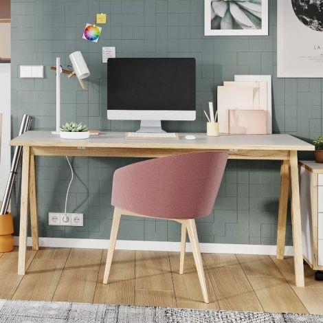 Schreibtisch Hercules 160cm - weiß/Eiche