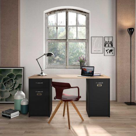 Melmo 150cm Industrie-Schreibtisch - schwarz/Helvezia Eiche