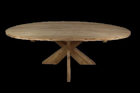 Ovaler Esstisch mit Schrittfuß - 180x100 cm - natur - Teakholz
