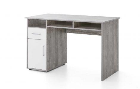 Schreibtisch Maxi-office 125cm - Beton/Weiß