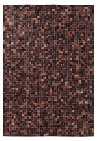 Teppich In Leder Patchwork 230x160 - choco