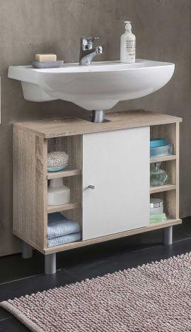 Waschtischunterschrank Benja 1 Tür und 6 Fächer - weiß/Eiche
