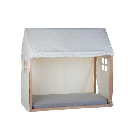Bettzelt für Bettrahmen Haus 70x140 - weiß