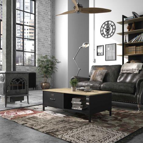 Couchtisch Manno 60x110 industrial - schwarz