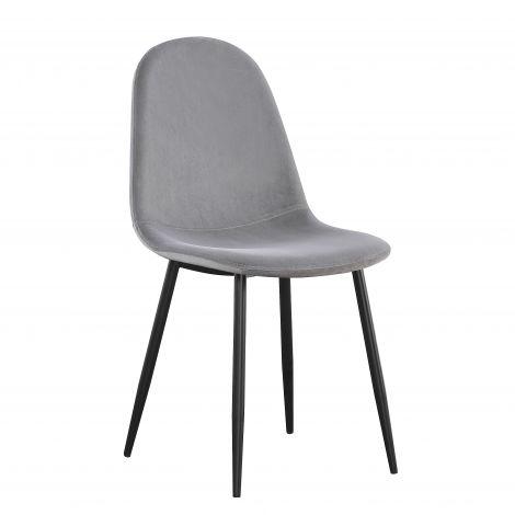 Satz von 4 Stühlen Jo samt - grau