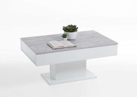 Couchtisch Lola 1 Schublade - Beton/Hochglanz-weiß