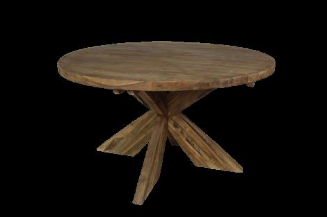 Runder Esstisch mit Schrittfuß - ø130 cm - Vintage - Teakholz