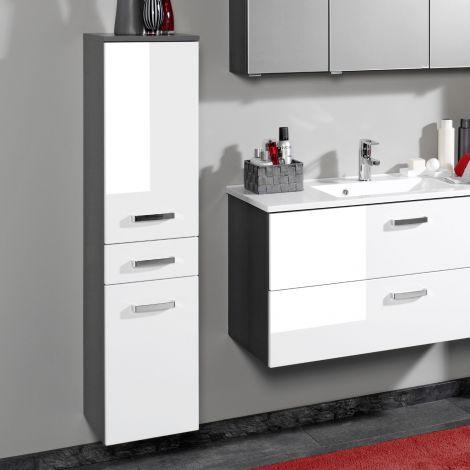 Säulenschrank Bobbi niedrig 30cm 2 Türen und 1 Schublade - graphit/hochglanz-weiß