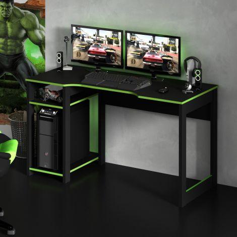 Gaming-Schreibtisch Vanos 136cm - schwarz/grün