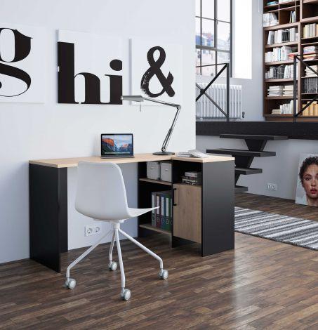 BUREAU - LIVERPOOL black and wood corner desk Natural chestnut