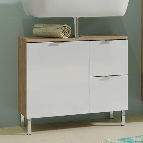 Waschtischunterschrank Mauro 60cm mit Tür und 2 Schubladen - Eiche/Weiß