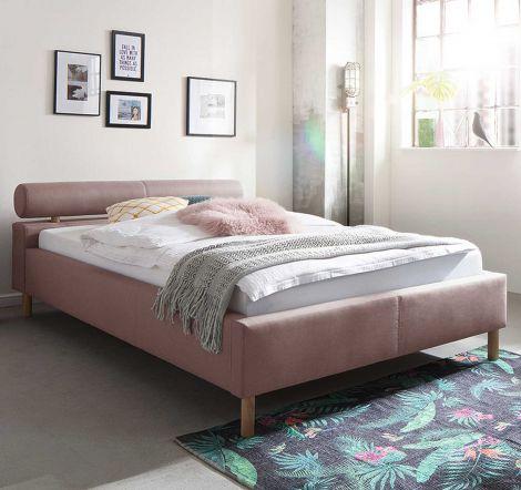 Gestoffeerd bed van katachtig materiaal - 120x200 cm - antiek roze