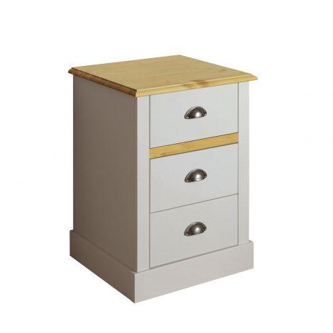 Nightstand SANDRINGHAM 003 - Nightstand with 3 drawers - GREY/WAX