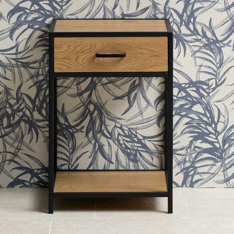 Seaford bed side table - matt black, wild oak