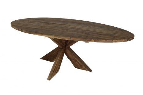 Ovaler Esstisch mit Schrittfuß - 220x110 cm - Vintage - Teakholz