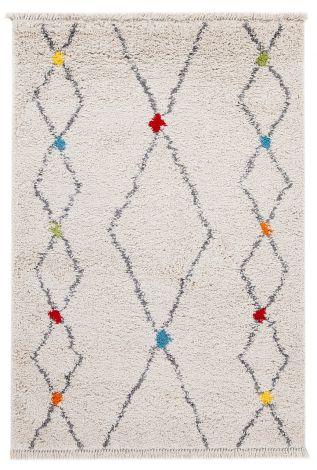 Teppich Tribe D 190x133 Weiß/mehrfarbig