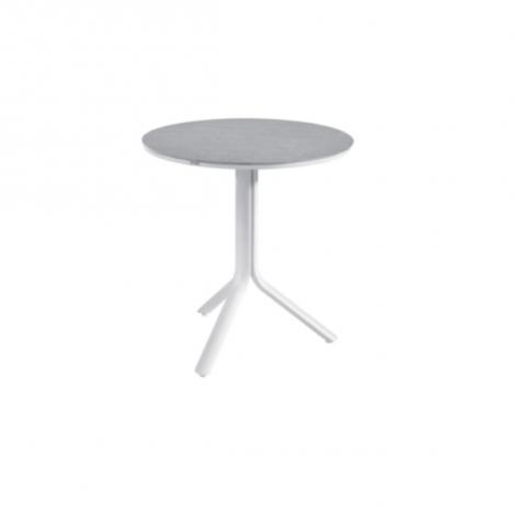 Runder klappbarer Gartentisch Bahia - weiß/grau
