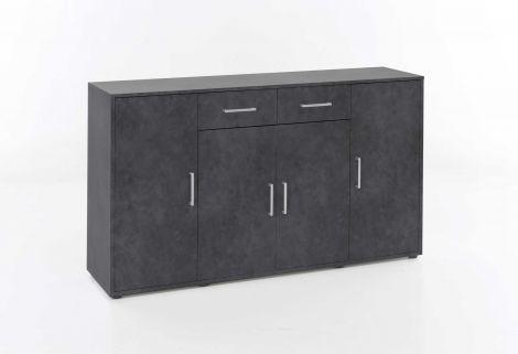 Kommode mit 4 Türen und 2 Schubladen - Melamin Graphit Dekor