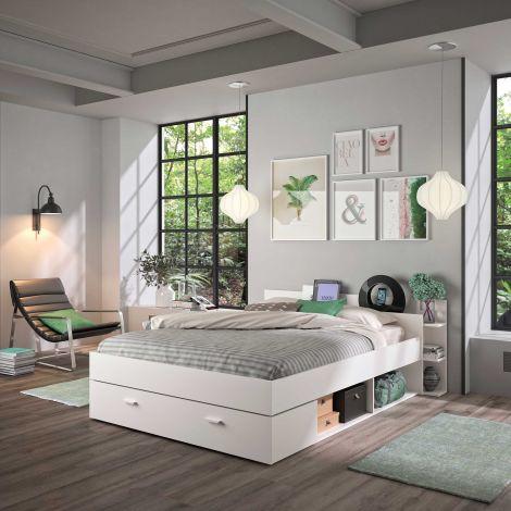 Bett mit Stauraum Eveline 140x190 - weiß