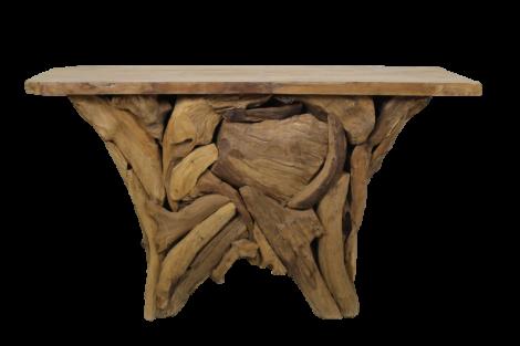 Seitentisch Root Temple- blankes Teakholz