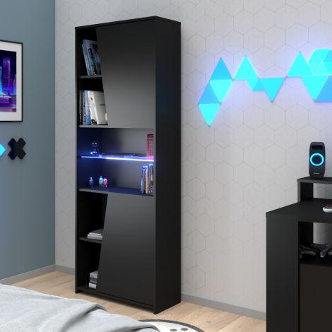 Gaming Bücherregal 67cm mit LED-Leiste - schwarz