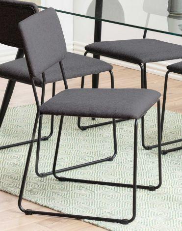 Cornelia dining chair - anthracite, matt black - set of 2