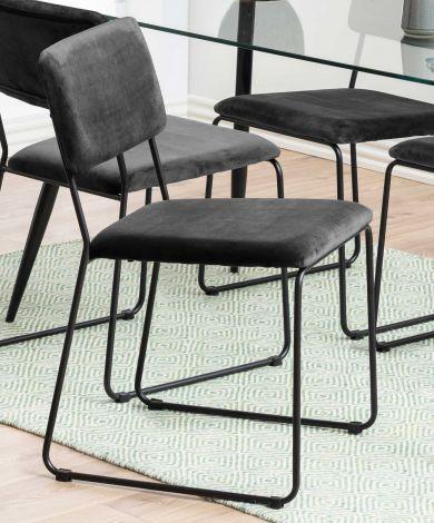 Cornelia dining chair - dark grey, matt black - set of 2