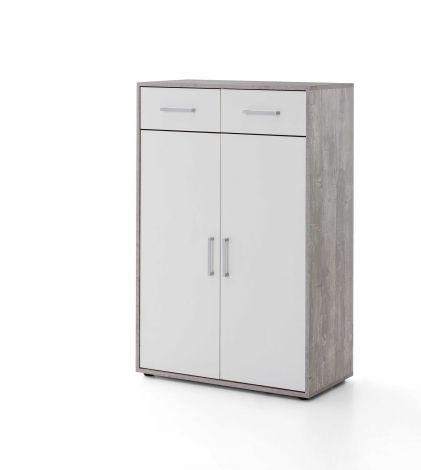 Serie Maxi-Office, Schrank breit mit 2 Türen und 2 Schubladen, 110,5 cm hoch - Beton/Weiß Dekor