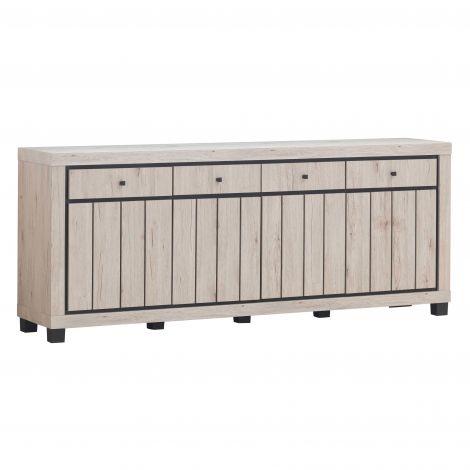 Sideboard Elke 224cm 4 Türen und Schubladen - Eiche