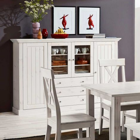 Display cabinet MONACO 039 - Display cabinet with 2 wooden doors, 2 glass doors, and 3 drawers - WHITE WASH