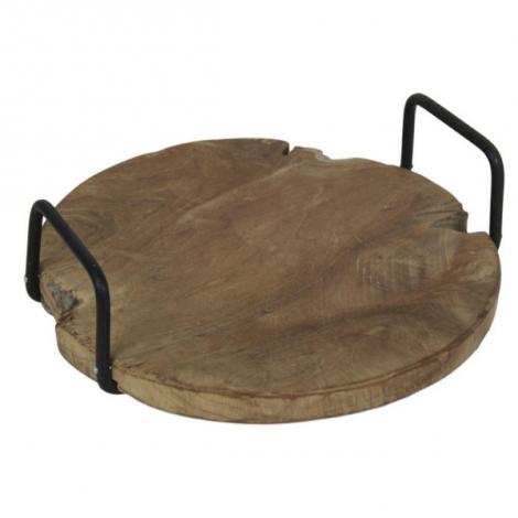 Tablett 35cm mit Griff - Teakholz