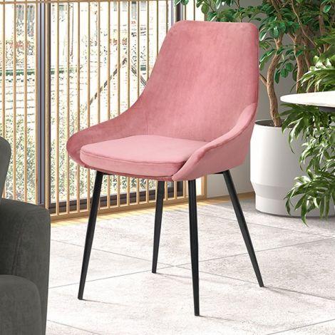 Satz von 2 Stühlen Mirano samt/metall - rosa