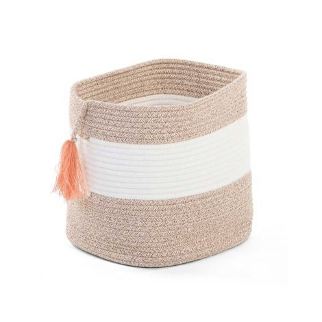Cotton Rope Basket White Beige + Tassel Nude 28X28X27