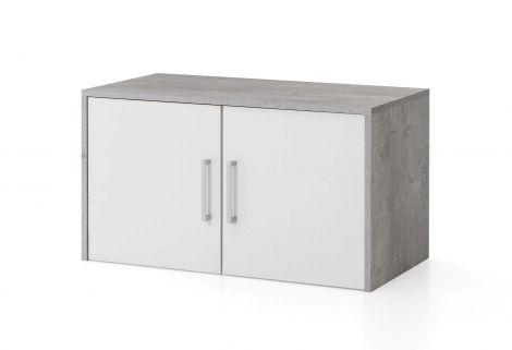 Maxi-Büro-Wandschrank 2 Türen - Beton/Weiß