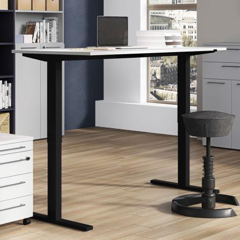 Sitz-Steh-Schreibtisch Osmond 180cm elektrisch verstellbar - hellgrau/schwarz