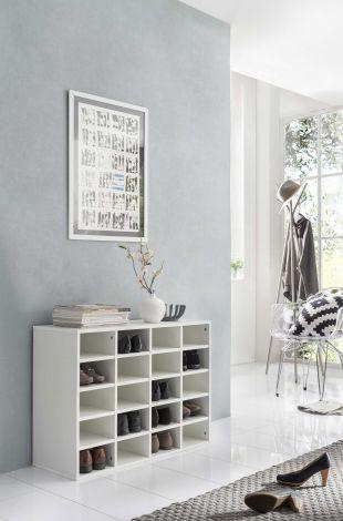 Aufsatz für Schuh- und Wohnregal mit 20 Fächern - Weiß Melamin Dekor