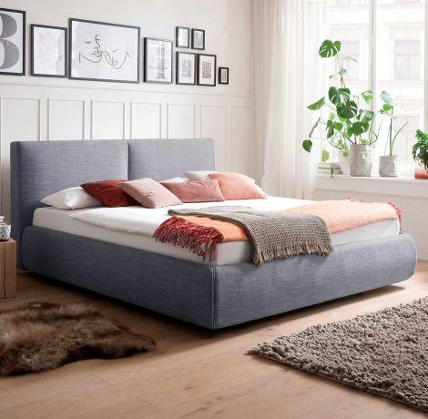 Gestoffeerd bed Atesio incl. bedbodem, incl. matras - 180x200 cm - Blauw