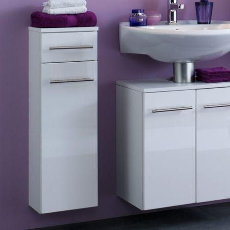 Badezimmerschrank Small 25cm 1 Schublade und 1 Tür - hochglänzend weiß