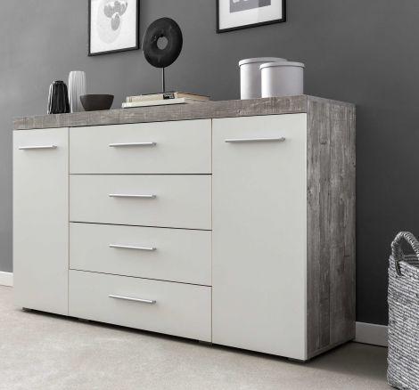 Kommode/Sideboard mit 2 Türen und 4 Schubladen, Korpus Beton mit Fronten in Weiß Melamin Dekor - Beton Melamin Dekor