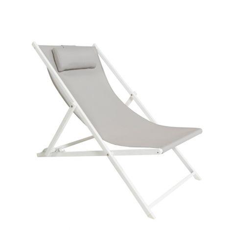 Strandkorb Danira - weiß/hellgrau