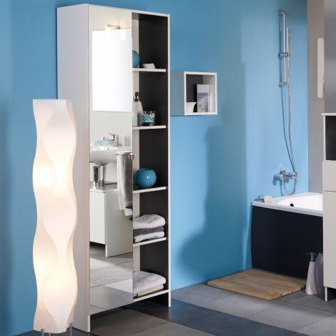 Säulenschrank Artem 59cm mit Spiegel - weiß