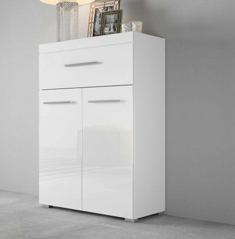 Hochkommode mit 2 Türen und 1 Schublade, Korpus Weiß mit Fronten in Hochglanz Melamin Dekor - Beton Melamin Dekor