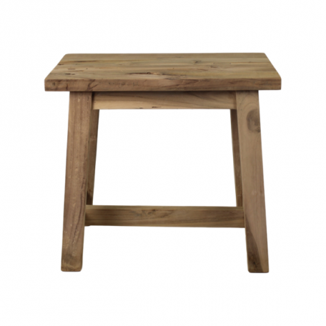 Dekorativer Hocker Lawas - 50 cm - natürlich - Teakholz