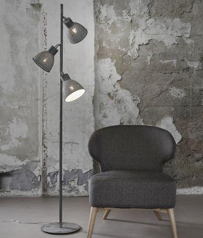 Stehlampe 3L aged iron - Grau