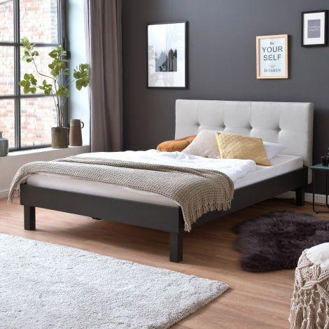 Doppelbett Bosko 140x200 mit Blockfüßen - beige/grau
