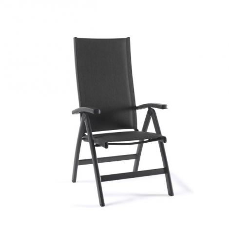 Verstellbarer Gartenstuhl Azur - dunkelgrau