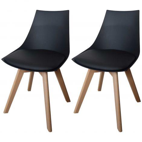 Set mit 2 Stühlen Cosmo - schwarz