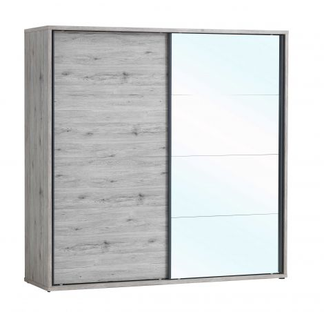 Kleiderschrank Forever 220cm mit 2 Schiebetüren und Spiegel - Eiche grau